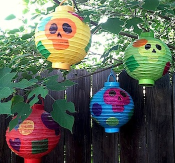 diy sugar skull paper lanterns