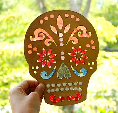 melted bead day of the dead sun catcher