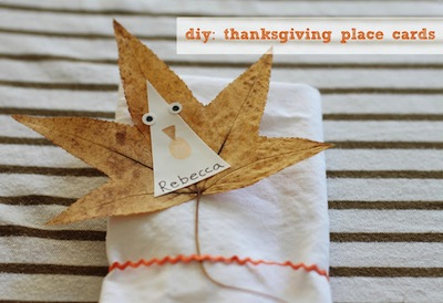 thanksgiving place card made from leaves craft idea