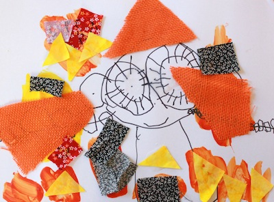 fabric and drawings mixed media art for kids