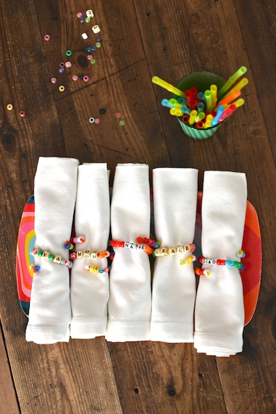 pony bead napkin rings and place cards kids can make for Thanksgiving