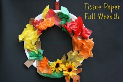 tissue paper fall wreath preschool craft