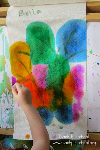 drip drop fall tree paintings on paper towels