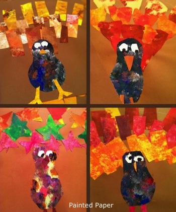 Painted Paper turkey with geometric feathers