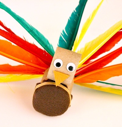 paper tube and feather turkey craft