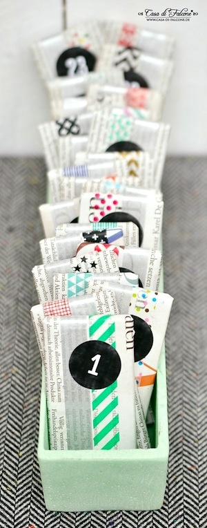 washi tape and newspaper packages advent calendar