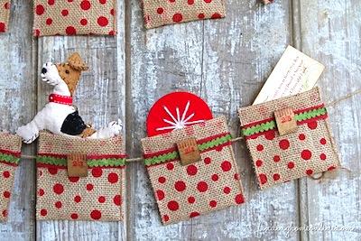 no-sew easy burlap pocket garland advent calendar