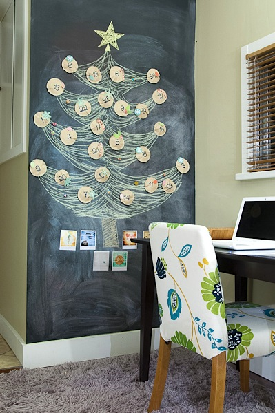 chalkboard tree advent calendar