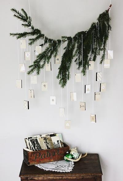 pine branch hanging matchbox advent calendar