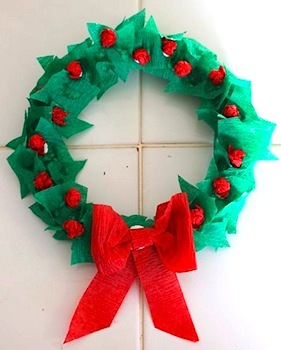 tissue paper wreath Christmas kids craft