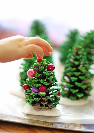 Christmas Tree Pine Cones In Plaster Things To Make And Do  - Pine Cone Christmas Trees