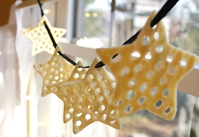 lacey punched salt dough ornaments