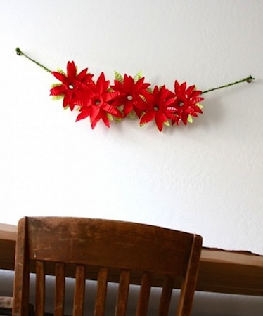 recycled water bottle poinsettia flower garland