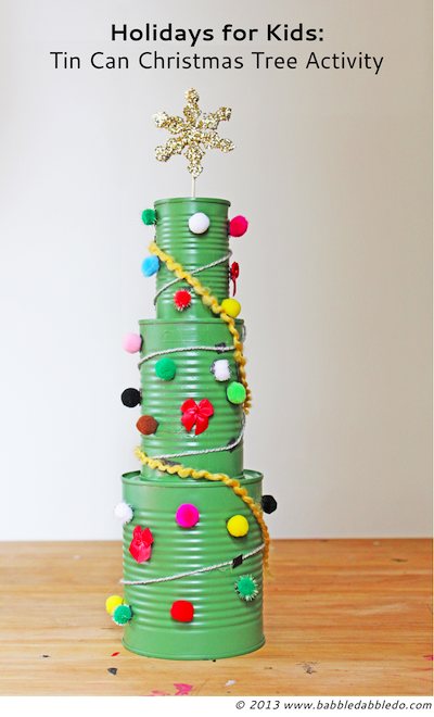 tin can Christmas tree craft for kids
