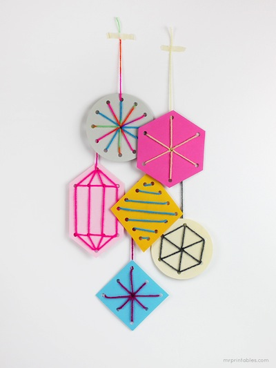 simple sewing card ornaments