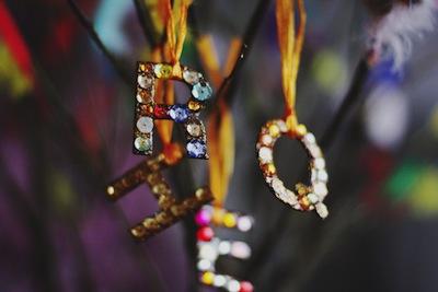 glittering initial ornaments
