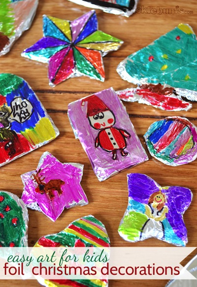 colorful kids art tin foil ornaments