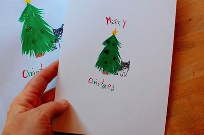homemade Christmas card with children's art