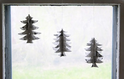 sewn paper trees