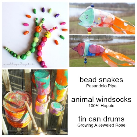 Bead snakes animal windsocks tin can drums kids crafts