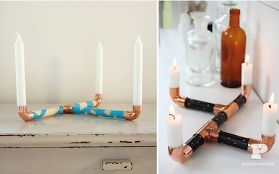 copper and wood candlestick gift kids can make