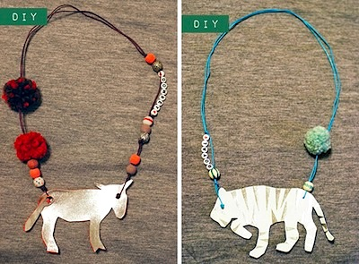 unique diy kids animal necklace with dyed pompoms and beads