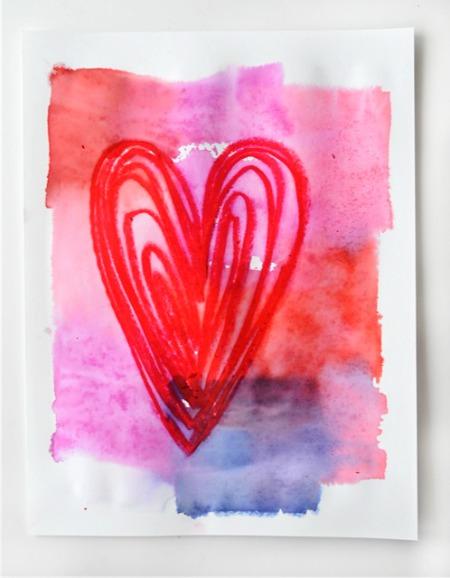 tissue paper art valentines hearts