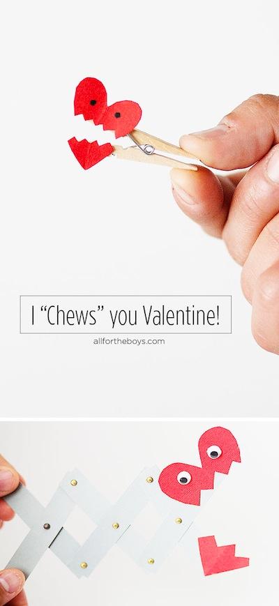 I chews you Valentine card craft