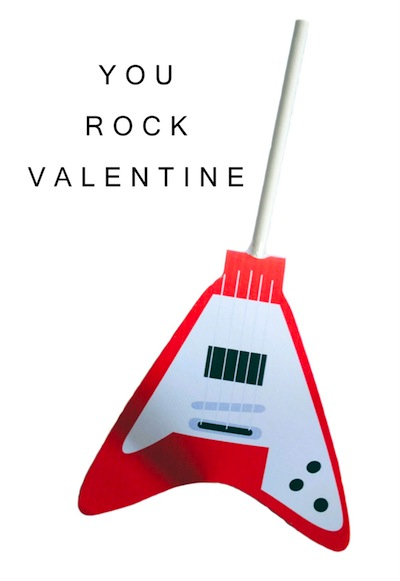 you rock guitar Valentine card printable