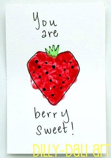 berry sweet homemade valentine card art