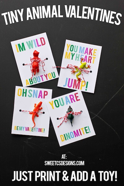 tiny plastic animal homemade valentines for kids