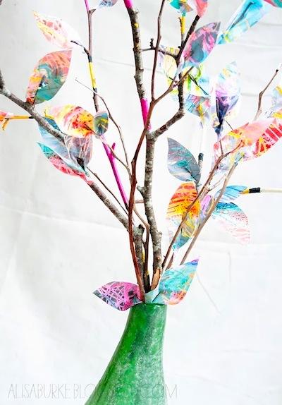 repurposed art paper leaves