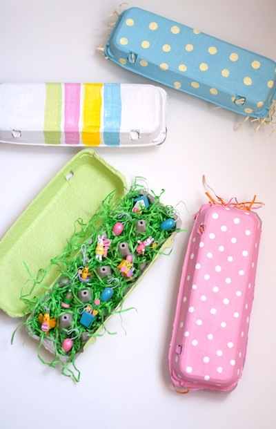 painted egg cartons for Easter treat boxes craft