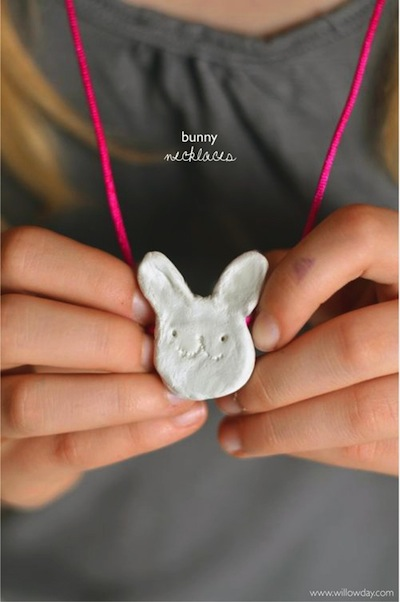 clay bunny necklaces Easter craft