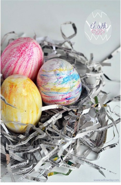 chalk Easter eggs craft