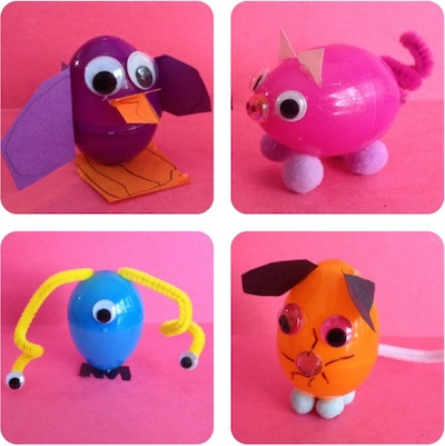 animals made from plastic easter eggs