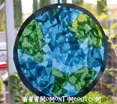 tissue paper stained glass earth for Earth Day craft