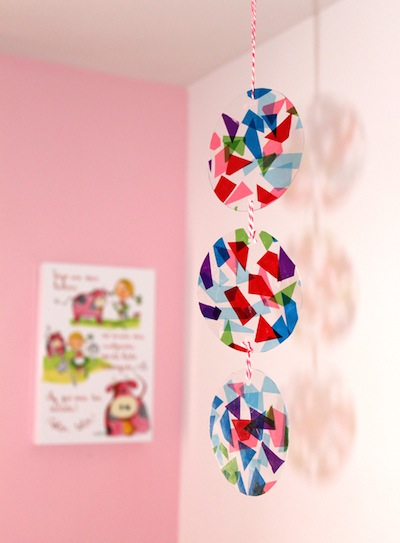 tissue paper and clear plastic mobile