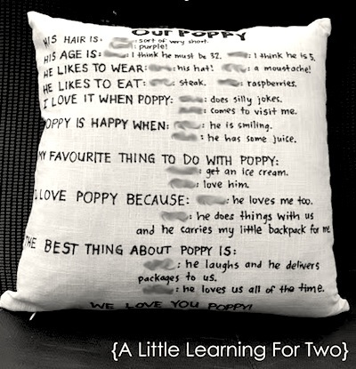 mother's day or father's day gift cushion with child interview