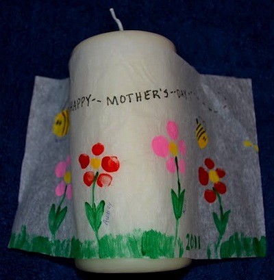 mother's day craft fingerprint art candles