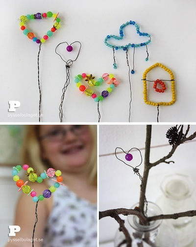 wire and bead garden ornaments tutorial Mother's Day gift