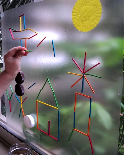 sticky paper and toothpicks window activity