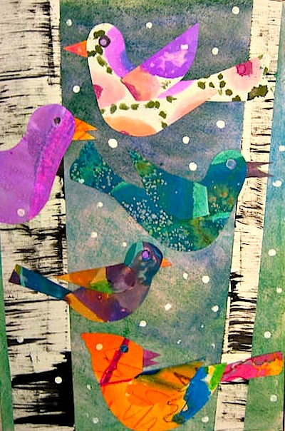 Lois Ehlert inspired paper bird collages