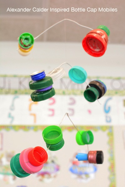 Alexander Calder inspired plastic bottle cap mobile