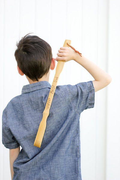 wood burned back scratcher for Father's Day kids craft