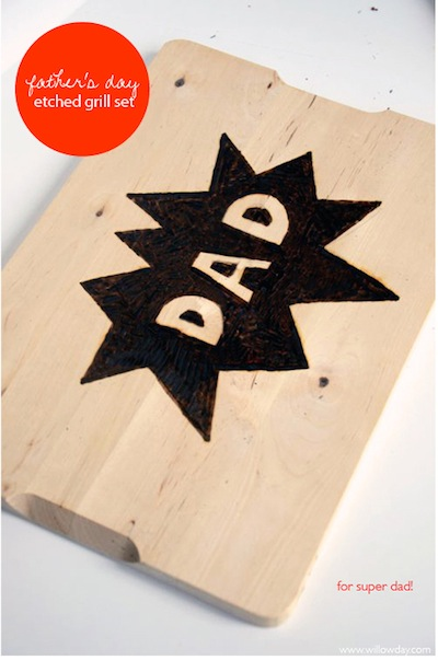 wood burned grill set Father's Day kids craft