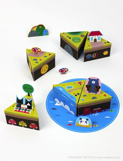 free paper island printable toy for kids to play with