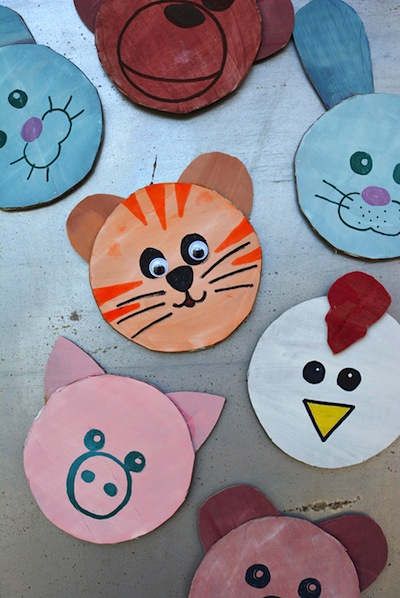 cardboard cutout animal magnets