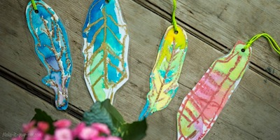 crayone resist traced feather bookmark