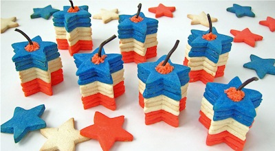 firecracker star cookies with a surprise inside